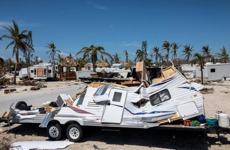 View of the mobile homes destroyed in Sunshine Key RV Resort after Hurricane Irma hit the Florida Keys on Ohio Key. Photo: Cristóbal Herrera / EFE.