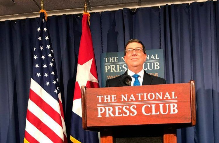 Cuban Foreign Minister Bruno Rodríguez in a press conference yesterday evening in Washington. Photo: Cuban Foreign Ministry on Twitter.