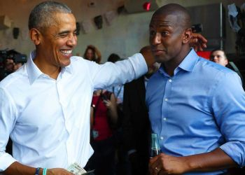 Obama and the Democratic candidate for governor of Florida, Andrew Gillum. Photo: Joe Raedle/Getty Images.