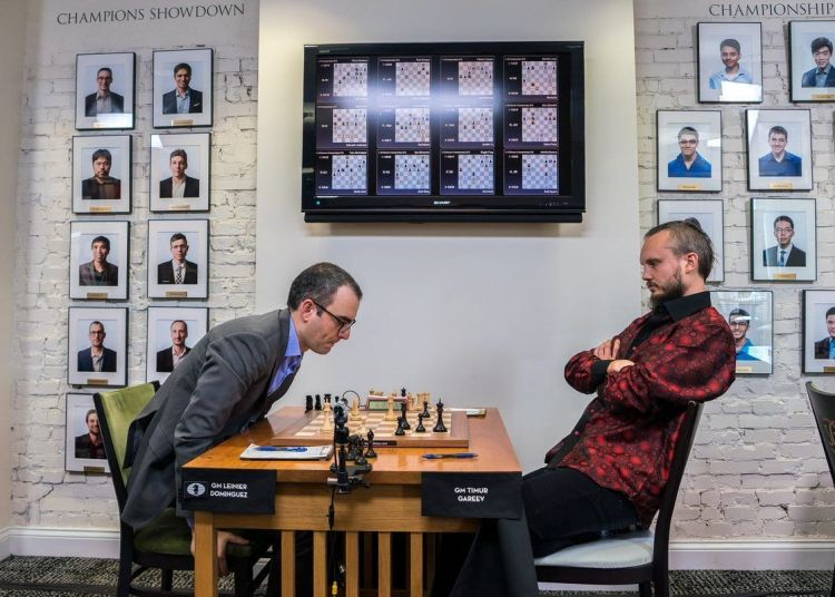Leinier Domínguez tried everything against Timur Gareyev, but in the end he finished the match in a draw. Photo: US Chess