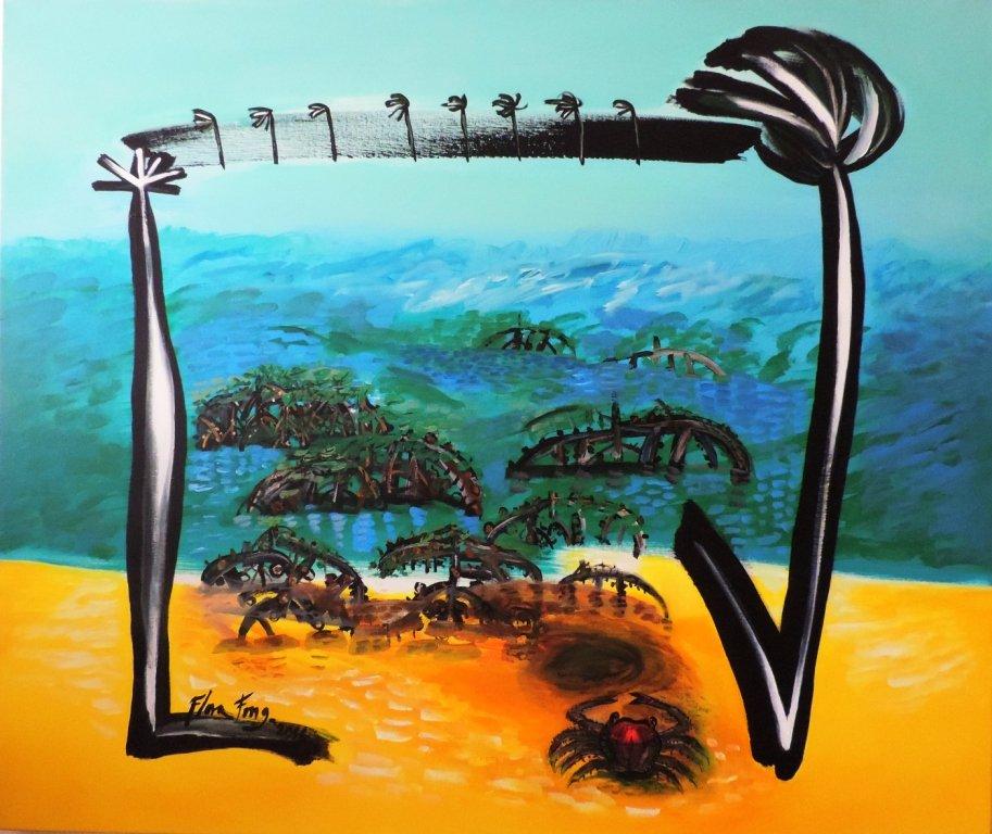 """""""Cangrejo en el manglar, """" acrylic technique, 110 × 130 cm, 2016"""