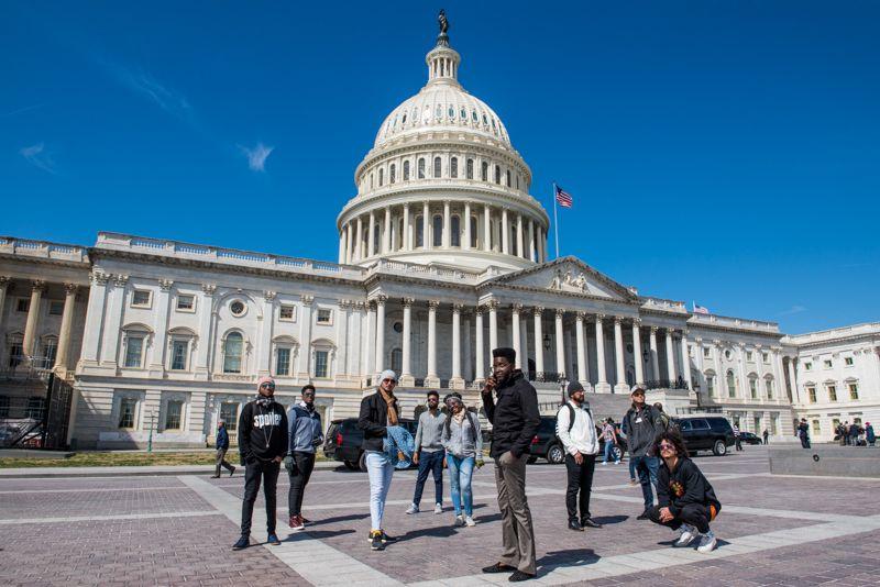 Cimafunk and his band in Washington. Photo: Alain L. Gutiérrez Almeida.