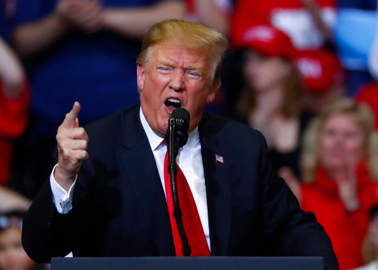 In this photograph of March 28, 2019, President Donald Trump speaks during a rally in Grand Rapids, Michigan. Photo: Paul Sancya / AP.