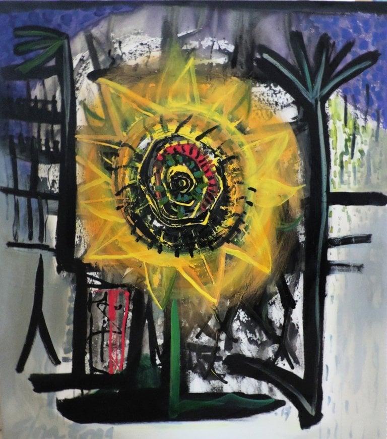 """""""Ancestros, girasol en la montaña"""" series, acrylic technique, 107 × 95 cm, 2017"""