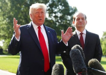 President Donald Trump speaking to the press along with Secretary of Labor Alex Acosta at the White House on Friday, July 12, 2019 in Washington. Photo: Andrew Harnik / AP.
