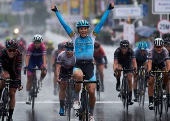 Arlenis Sierra wins in a race. Photo: Astana Women's Team / Archive.