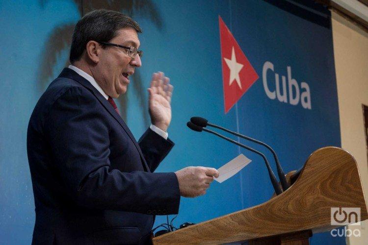 Cuban Foreign Minister Bruno Rodríguez Parrilla giving a press conference in Havana. Photo: Otmaro Rodríguez/Archive.