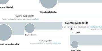 Collage of Cuban media accounts blocked on Twitter. Image: Marita Pérez Diaz.