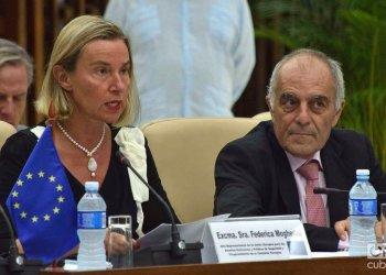 The head of European diplomacy, Federica Mogherini, together with the EU ambassador to Cuba, Alberto Navarro, during the 2nd Cuba-EU Joint Council, held in Havana on September 9, 2019. Photo: Otmaro Rodríguez.