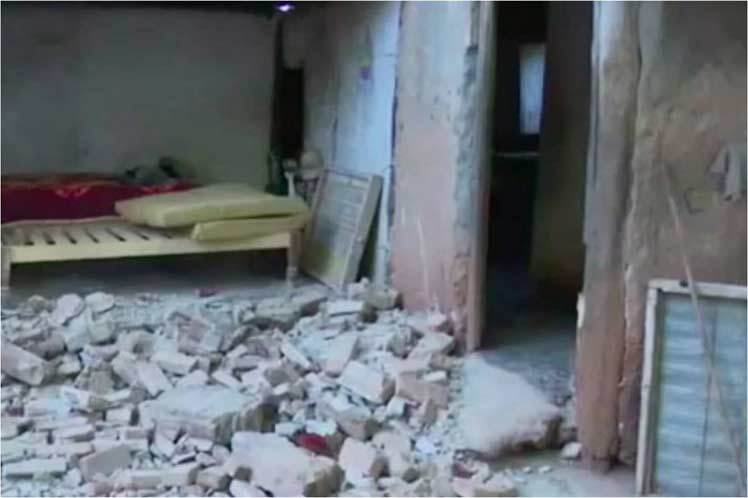 Damages to a dwelling in the Cuban province of Granma, after the earthquake of January 28, 2020. Photo: Prensa Latina.