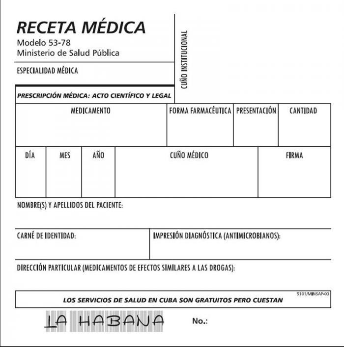 Nuevo modelo de receta médica en La Habana. Foto: Granma.