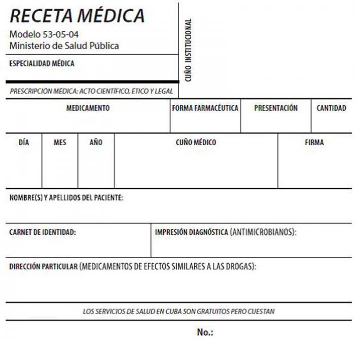 Nuevo modelo de receta médica que circulará en las demás provincias del país, menos en La Habana. Foto: Granma.