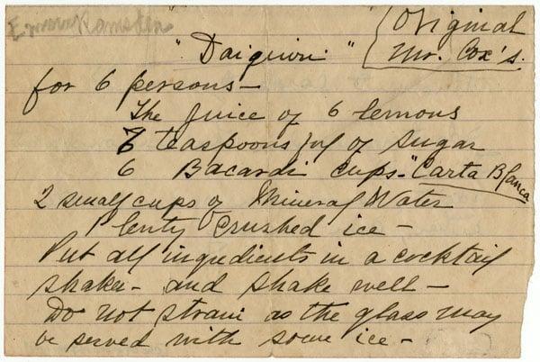 Receta original del Daiquirí registrada por Jennings Cox en su diario. Foto: Archivo de Ignacio Fernández Díaz.