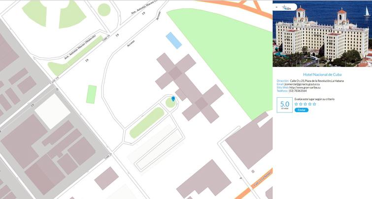 Captura de pantalla de la localización del Hotel Nacional, en La Habana, en CubaMaps.