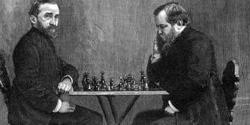 Zukertort, a la izquierda, durante su match contra Steinitz.