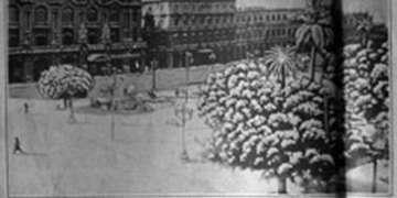 Artículo a doble página de la revista Carteles del 28 de diciembre de 1932, ilustrado con dos fotografías de la nieve caída.