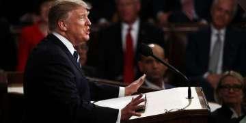 Donald Trump durante su primer discurso ante el Congreso de los Estados Unidos. Foto: El Nuevo Herald.