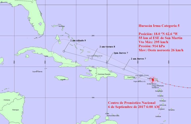 Hurricane Irma's trajectory cone. Source: Cuban Institute of Meteorology.