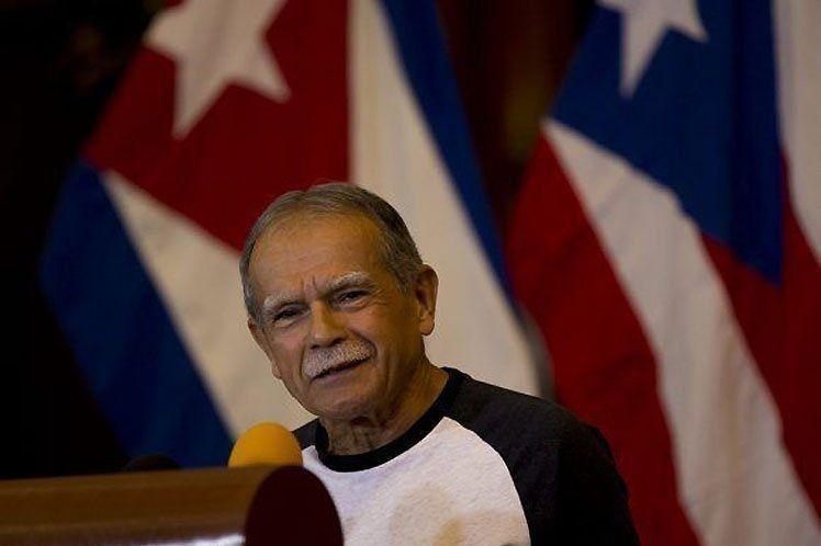 Oscar López Rivera en Cuba. Foto: Prensa Latina / Twitter.