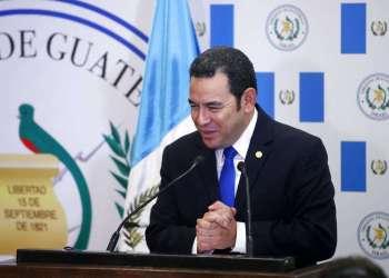 El presidente de Guatemala Jimmy Morales durante la inauguración de la embajada de su país en Jerusalén. Foto: Ronen Zvulun / Pool via AP.
