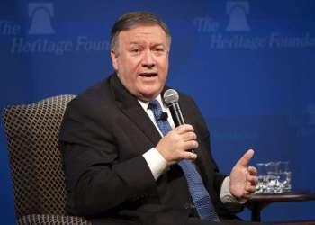 El secretario estadounidense de Estado Mike Pompeo habla en un evento de la Heritage Foundation. Foto: J. Scott Applewhite / AP.