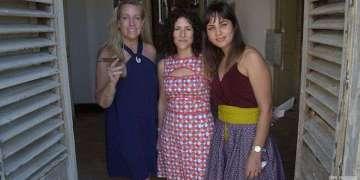 De izquierda a derecha, Sarah Saunders, Sachie Hernández y Mari Claudia García en la celebración en Arsenal Habana del quinto aniversario de Women´s Internatinal Cigar Club. Foto: Otmaro Rodríguez.