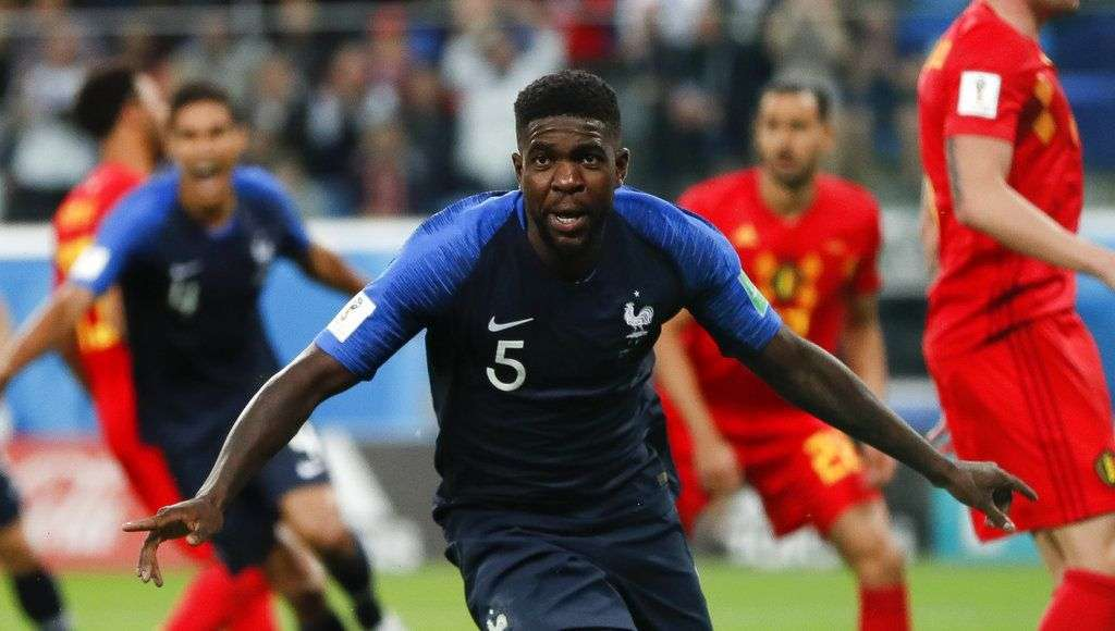 French Samuel Umtiti after scoring the first goal of his team in the game against Belgium in the semifinals of the World Championship in St. Petersburg, Russia, Tuesday July 10, 2018. Photo: Natacha Pisarenko / AP.