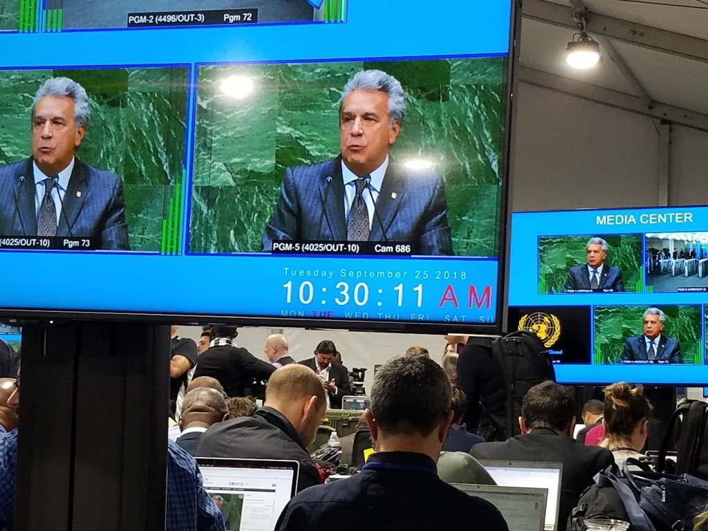 Lenin Moreno en las pantallas del Media Center en la ONU. 25 de septiembre de 2018. Foto: Marita Perez Diaz