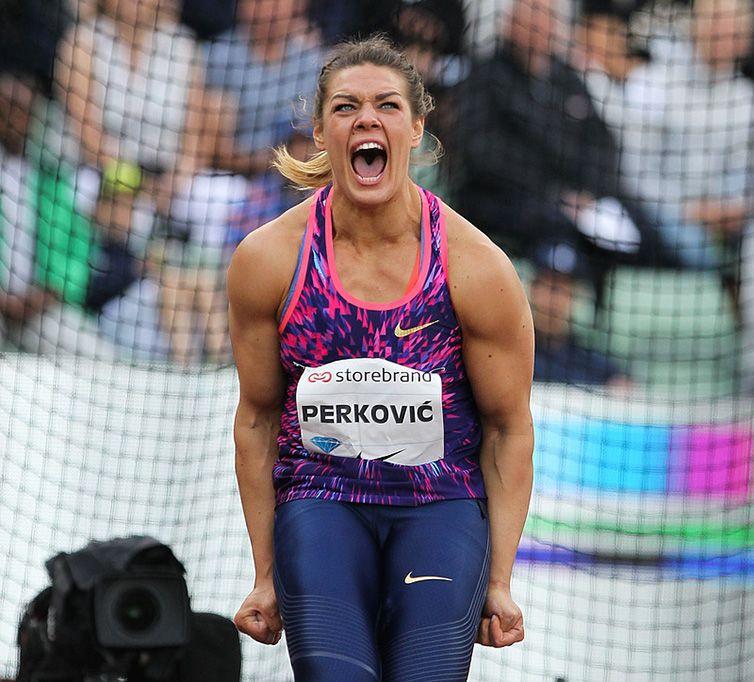 La croata Sandra Perkovic durante una competencia en el pasado 2018. Ahora se encuentra de visita en Cuba, relajándose antes de afrontar las exigencias del 2019. Foto: diamondleague.com