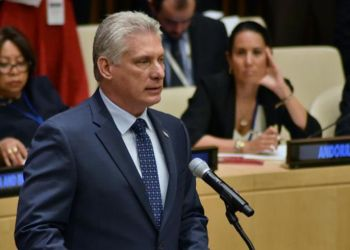 El presidente cubano, Miguel Díaz-Canel, en la conmemoración en la ONU del Día Internacional para la Eliminación Total de las Armas Nucleares. Foto: Estudios Revolución.