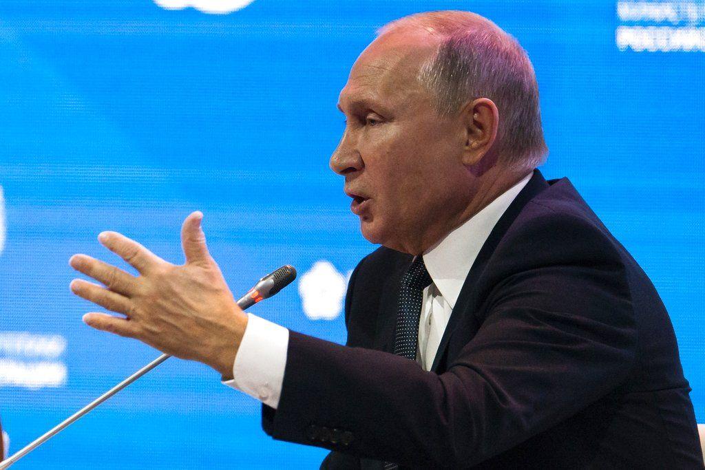El presidente ruso Vladimir Putin habla en el Forum Internacional de la Semana Rusa de Energía en Moscú el miércoles, 3 de octubre de 2018. Foto: Alexander Zemlianichenko / AP.