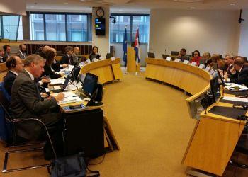 Diálogo político sobre sanciones extraterritoriales entre Cuba y la UE, en Bruselas, Bélgica, el 19 de noviembre de 2018. Foto: @JoseCarlosRguez / Twitter.