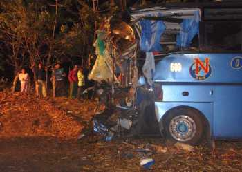 Ómnibus accidentado en Cuba. Foto: Oscar Salabarría/ Escambray / Archivo.