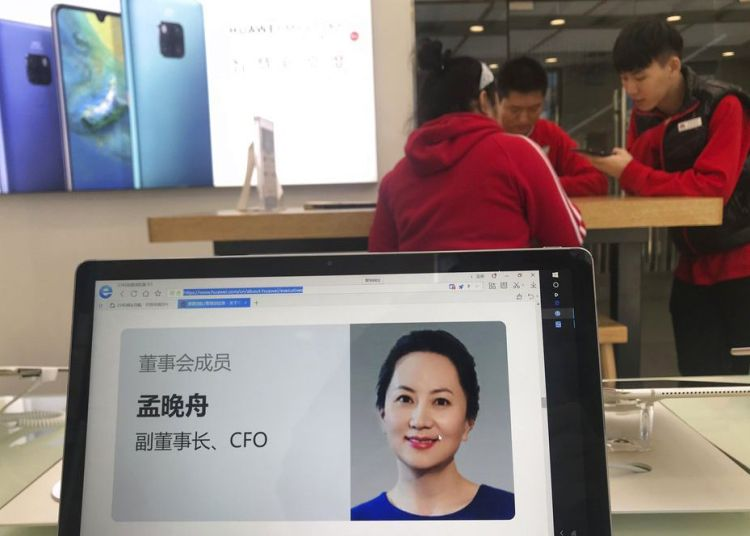 Imagen del perfil de la directora financiera de Huawei, Meng Wanzhou, visto en una computadora de la marca en una de sus tiendas en Beijing, China, el 6 de diciembre de 2018. Foto: Ng Han Guan / AP.