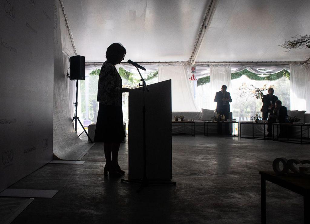 Patricia Bullrich exhibe su operativo de seguridad durante la Cumbre. Foto: Nicolás Cabrera.