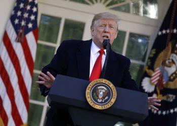 El presidente Donald Trump habla en la Rosadela de la Casa Blanca, el viernes 25 de enero de 2019, en Washington. Foto: Evan Vucci / AP.