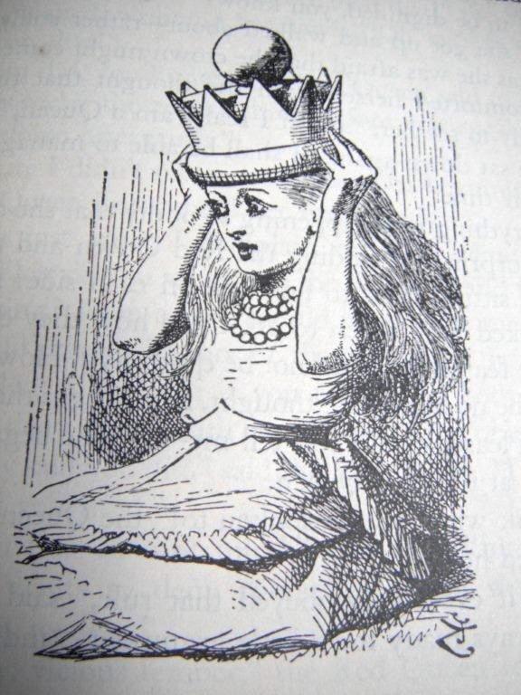 """Ilustración de John Tenniel en """"A través del espejo""""."""