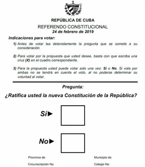 Boleta utilizada en el referendo sobre la nueva Constitución de Cuba. Foto: Radio Guamá / Twitter.
