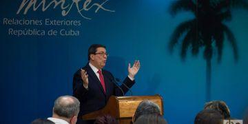 El canciller cubano, Bruno Rodríguez Parrilla, en una rueda de prensa en La Habana, el 19 de febrero de 2019. Foto: Otmaro Rodríguez.
