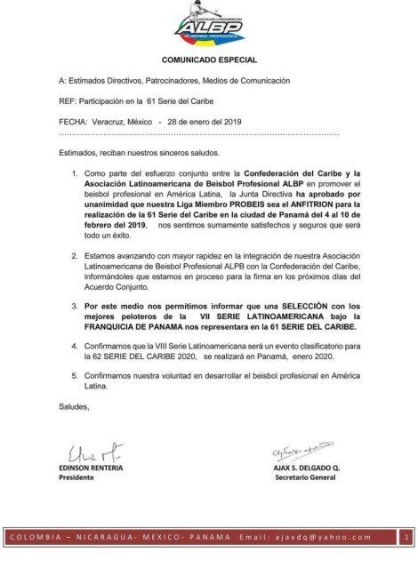 Comunicado de la Asociación Latinoamericana de Béisbol Profesional.
