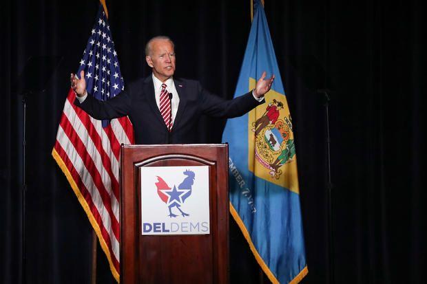 El ex vicepresidente Joe Biden hablando en Delaware, 16 de marzo de 2019. Foto: AP.