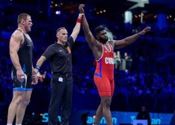 Pino logró tres victorias en su primer gran examen en el estilo libre, lo cual lo reafirma como uno de los luchadores cubanos más seguros del momento. Foto: Tomada de Inside the Games