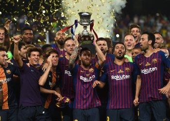 El Barcelona celebra su título en la Supercopa de España 2018 ante el Sevilla. Foto: RTVE.