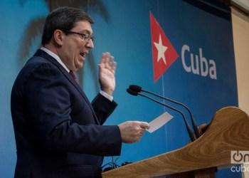 El ministro de Relaciones Exteriores de Cuba, Bruno Rodríguez Parrilla, ofrece conferencia de prensa en La Habana.Foto: Otmaro Rodríguez. ARCHIVO.