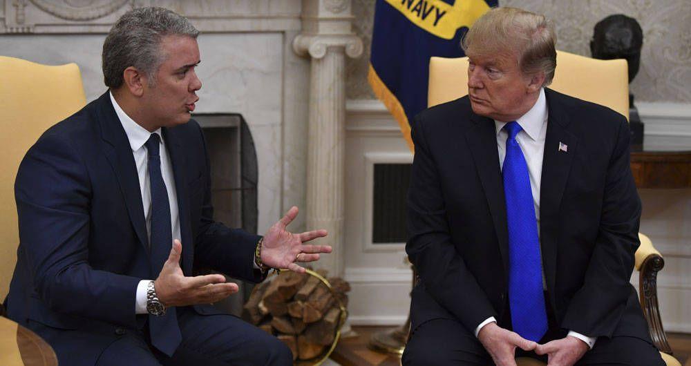 Encuentro entre los presidentes de Colombia, Iván Duque, y EE.UU., Donald Trump, en la Casa Blanca. Foto: Foto: AFP / Semana / Archivo.