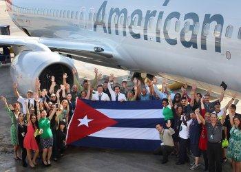Llegada del primer vuelo de American Airlines a La Habana, el 7 de septiembre del 2016. Foto: American Airlines / Archivo.