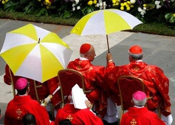 Cardenales refugiados del sol durante la misa de Pentecostés celebrada por el papa Francisco en la Plaza de San Pedro, en el Vaticano, el domingo 9 de junio de 2019. Foto: Gregorio Borgia/ AP.