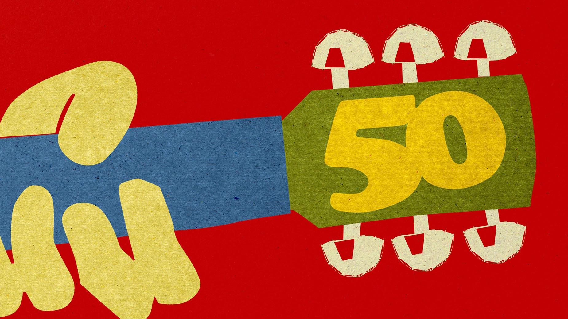 Cartel promocional del festival Woodstock 50.
