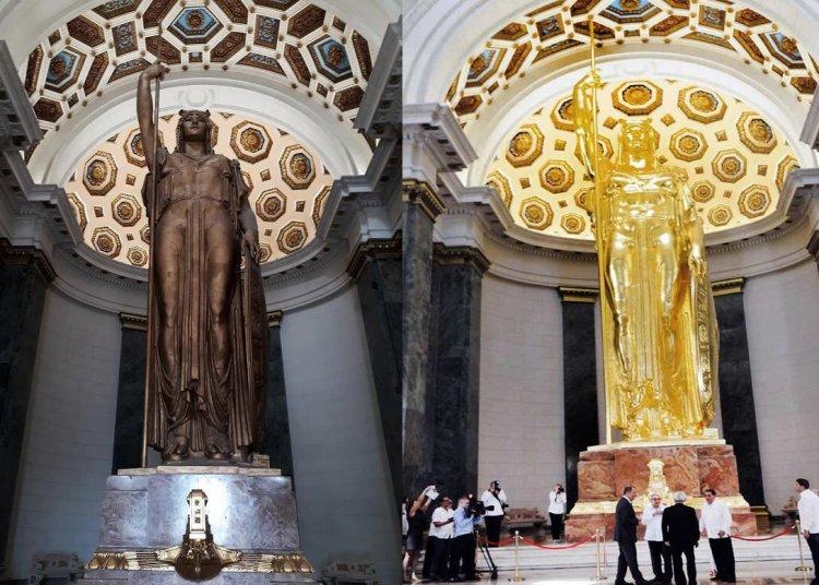 El antes y el después de la estatua de la República, recién restaurada en el capitolio cubano. Fotos: Facebook Katherine Hechavarría.