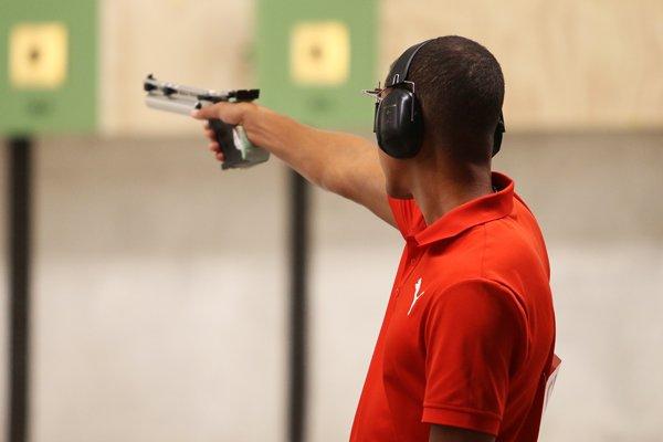 El cubano Jorge Grau ganó la pistola de aire a 10 metros y alcanzó el boleto olímpico el domingo 28 de julio de 2019 en los Juegos Panamericanos Lima 2019. Foto: Mónica Ramírez / Jit.